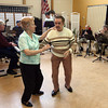 Gloucester: Amande Proodian and Maurice Evans dance the foxtrot as the Good Ole Salty Jazz Band plays at the Rose Baker Senior Center yesterday afternoon. The band plays at the senior center every other Monday from 1-3. Photo by Kate Glass/Gloucester Daily Times