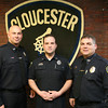 Gloucester: Gloucester Patrolman Jerry Ciolino, Patrolman's Association President Jeremiah Nicastro, and Sgt. David Quinn show the new uniforms of the Gloucester Police Department. Photo by Kate Glass/Gloucester Daily Times