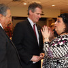 Gloucester: Senator Scott Brown speaks with Gloucester City Councilor Sefatia Romeo Theken as Vito Calomo, who is part of the senator's community outreach for fisheries, listens following a Chamber of Commerce luncheon at the Gloucester House yesterday. Photo by Kate Glass/Gloucester Daily Times
