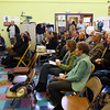 Gloucester: Tony Blackman, Executive Director of the Gloucester Community Arts Charter School, addresses nearly 100 people gathered for the school's third and final open house yesterday morning. Blackman said it was the most well attended open house to date. Photo by Kate Glass/Gloucester Daily Times