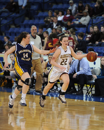 Lowell: Gloucester's Audrey Knowlton takes the ball up court against Arlington Catholic in the division 2 North Finals at the Tsongas Arena Saturday night in Lowell. Desi Smith/Gloucester Daily Times.