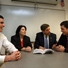 Gloucester: Gloucester High School seniors Adam Philpott, left, and Mike Tomaino, far right, get advice from State. Rep. Ann-Margaret Ferrante and State Sen. Bruce Tarr as they prepare for Student Government Day at the State House, which is this Friday. Philpott will play the role of Rep. Ferrante and Tomaino will play the role of Sen. Tarr. Photo by Kate Glass/Gloucester Daily Times