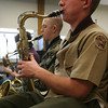 Gloucester: Josh Zubricki, right, and Paul Bondarev practice with the Docksiders as they rehearse for their upcoming conert, which will feature the band's alumni from the past decade. Photo by Kate Glass/Gloucester Daily Times