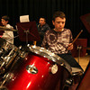 """Rockport: John Altman plays the drums as Coalter Palmer, left, and Sean Welcome, right, play the saxophone while rehearsing with the 6th grade jazz band, which performed last night in the John Lane Performing Arts Center with the 7th & 8th grade jazz band in """"Jammin'."""" The high school jazz band performs tonight at 7:30. Photo by Kate Glass/Gloucester Daily Times"""