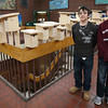 Gloucester: Jake Wagner, left, and Willy Pierce, both 8th grade students at O'Maley Middle School, stand near a display of Eastern bluebird houses that members of their class built as part of a collaboration with MIT. The project was sponsored by the Gloucester Education Foundation. O'Maley will be holding its Spring Fling Fair this Saturday from 9-2 with proceeds going toward the purchase of school lockers. Photo by Kate Glass/Gloucester Daily Times