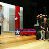 "Manchester: Emmett Snyder, left, and Matt Corwin rehearse a scene from ""The Complete History of America Abridged,"" which the Manchester Essex Drama Club will be performing on Saturday at 10am during the Mass. Educational Theater Guild Dramafest. The school is hosting dramafest, which features plays from 8 schools including Manchester Essex and Gloucester. Photo by Kate Glass/Gloucester Daily Times"