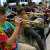 "Gloucester: Alan Davis and the Docksiders trumpet section plays ""Cut to the Chase"" as they rehearse for their upcoming conert, which will feature the band's alumni from the past decade. Photo by Kate Glass/Gloucester Daily Times"