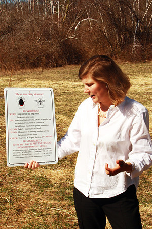 In an effort to raise awareness about the early increase in the number of ticks and to provide helpful information on how to avoid them, Gloucester Public Health Nurse Chassea Robinson said the city's health department will be posting more caution signs around environments that are exceptionally suited to the insect. Jesse Poole/Gloucester Daily Times March 22, 2012
