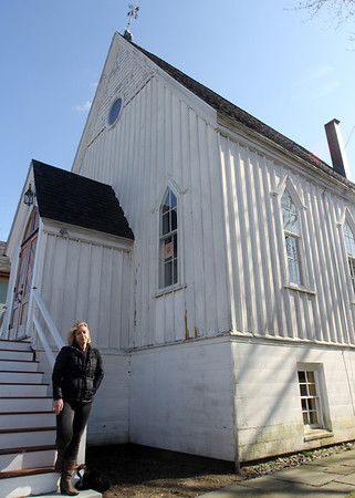 ALLEGRA BOVERMAN/Staff photo. Gloucester Daily Times. Gloucester: The Rocky Neck Art Colony will soon be purchasing the former Christian Science Church in Rocky Neck to hopefully use as a cultural center. Karen Ristuben, the president of the art colony, talks about the building.