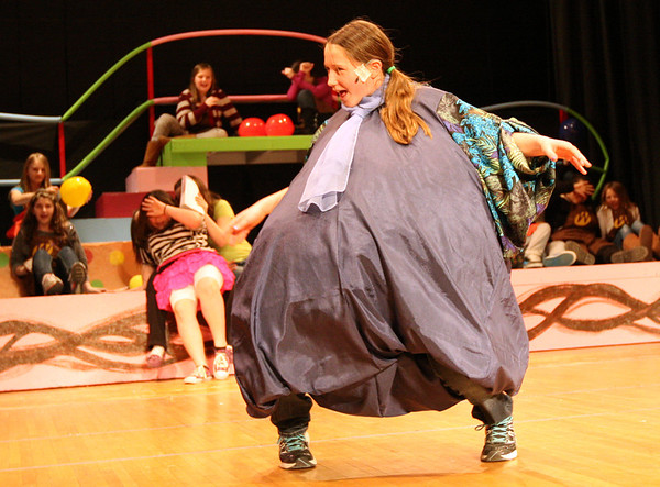 """ALLEGRA BOVERMAN/Staff photo. Gloucester Daily Times. Gloucester:<br /> Corryn Ulrich plays Violet Beauregarde in the upcoming O'Maley Middle School production of """"Willy Wonka Junior."""""""