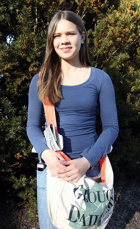 ALLEGRA BOVERMAN/Staff photo. Gloucester Daily Times. Gloucester: Newspaper carrier Alexis MacLean, 13, of Gloucester.