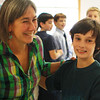 Fifth-grader Brandon Quinn dances with his music teacher Beth Goldberg during a special ballroom dance lesson at Beeman Elementary School on Wednesday morning. Jesse Poole/Gloucester Daily Times March 6, 2012