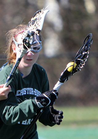 ALLEGRA BOVERMAN/Staff photo. Gloucester Daily Times. Gloucester: Manchester-Essex Girls Varsity Lacrosse Kelsey Trumble in action during practice on Tuesday afternoon at Field Field in Manchester.