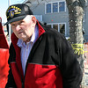 "ALLEGRA BOVERMAN/Staff photo. Gloucester Daily Times. Gloucester: John ""Gus"" Foote takes a look at the work going on for Harborwalk that is also taking place on the little park named for him near Gloucester House on Friday. Behind him is a buoy donated to him by the Coast Guard."