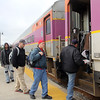 ALLEGRA BOVERMAN/Staff photo. Gloucester Daily Times. Gloucester: People board the 2:08 p.m. commuter train to Boston on Wednesday afternoon from the Railroad Avenue station in Gloucester.