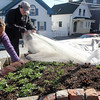 ALLEGRA BOVERMAN/Staff photo. Gloucester Daily Times. Gloucester: Lara Lepionka, of The Cape Ann Farmers' Market's Backyard Growers Program, left, and Noah McNair, 14, look at her raised beds at her house on Monday, The organization will hold the second of two garden trainings this Saturday, March 31, from 9:30 to 11:30 a.m. at the Open Door, 29 Emerson Ave., (rear entrance).