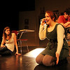 "ALLEGRA BOVERMAN/Staff photo. Gloucester Daily Times. Gloucester: During a rehearsal of ""Lockdown,"" the one act play that Gloucester High School Drama Club students are performing during the upcoming 2012 Massachusetts Drama Festival competition this weekend. From right to left are: Zach Schultz, Zoe Paddock, Kelly O'Dea and Ryan Hull."