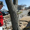 "ALLEGRA BOVERMAN/Staff photo. Gloucester Daily Times. Gloucester: John ""Gus"" Foote takes a look at the work going on for Harborwalk that is also taking place on the little park named for him near Gloucester House on Friday."