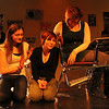"ALLEGRA BOVERMAN/Staff photo. Gloucester Daily Times. Gloucester: During a rehearsal of ""Lockdown,""  the one act play that Gloucester High School Drama Club students are performing during the upcoming 2012 Massachusetts Drama Festival competition this weekend. From left are: Kelly O'Day, Amberly Moody and Zoe Paddock. Back left is Kate Parisi."