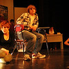 "ALLEGRA BOVERMAN/Staff photo. Gloucester Daily Times. Gloucester: During a rehearsal of ""Lockdown,"" the one act play that Gloucester High School Drama Club students are performing during the upcoming 2012 Massachusetts Drama Festival competition this weekend.  From left, in front, are: Amberly Moody, Daniel Wood, Nicole Bauke and David Sullivan. In back, from left, are: Zoe Paddock, Zach Schultz and Kate Parisi."