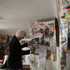 ALLEGRA BOVERMAN/Staff photo. Gloucester Daily Times. Gloucester: Willie Alexander of Gloucester among his sprawling collages at his house.
