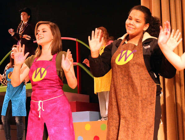"ALLEGRA BOVERMAN/Staff photo. Gloucester Daily Times. Gloucester: <br /> Oompa Loompas Ellen Pereira, left, and Carrington Davis dance in the upcoming O'Maley Middle School production of ""Willy Wonka Junior."""