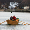 ALLEGRA BOVERMAN/Staff photo. Gloucester Daily Times. Gloucester: Front to back: Tom Jarvis and Jimmy Tarantino, both of Gloucester, row in a dory along Pavilion Beach on Thursday afternoon.
