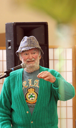 ALLEGRA BOVERMAN/Staff photo. Gloucester Daily Times. Gloucester: Denis Golden of Rockport sang some old Irish standards during the St. Patrick's Day Party at Rosie's Cafe in the Rose Baker Senior Center on Thursday.