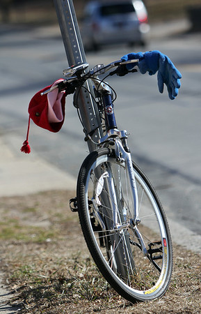 ALLEGRA BOVERMAN/Staff photo. Gloucester Daily Times. Gloucester: A bicycle is ready for the weather conditions as it's parked along Washington Street on Tuesday.