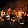 "ALLEGRA BOVERMAN/Staff photo. Gloucester Daily Times. Gloucester: During a rehearsal of ""Lockdown,"" the one act play that Gloucester High School Drama Club students are performing during the upcoming 2012 Massachusetts Drama Festival competition this weekend. From right to left are: David Sullivan, Daniel Wood, Nicole Banke, Zach Schultz, Zoe Paddock, Kelly O'Dea and Ryan Hull."