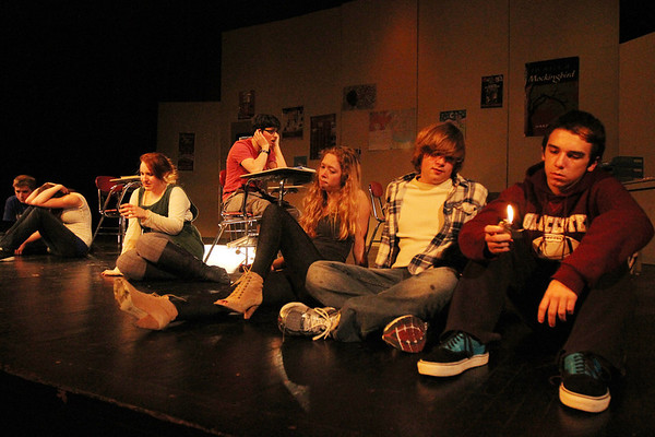 """ALLEGRA BOVERMAN/Staff photo. Gloucester Daily Times. Gloucester: During a rehearsal of """"Lockdown,"""" the one act play that Gloucester High School Drama Club students are performing during the upcoming 2012 Massachusetts Drama Festival competition this weekend. From right to left are: David Sullivan, Daniel Wood, Nicole Banke, Zach Schultz, Zoe Paddock, Kelly O'Dea and Ryan Hull."""