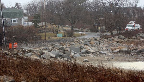 Allegra Boverman/Gloucester Daily Times. A section of Marmion Way in Rockport was closed on Thursday during the storm.