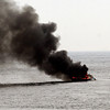 Rockport: Rockport Harbormasters Rosemary Lesch and Scott Story respond to a boat fire between Thacher Island and Milk Island yesterday afternoon. One man was rescued from the 42-foot trawler. Photo by Kate Glass/Gloucester Daily Times Thursday, May 7, 2009