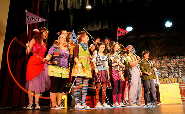 "Manchester: The cast of Manchester Essex High School's production of ""Godspell"" rehearses a scene for their upcoming performance. The show will run Thursday, May 14, Friday, May 15, and Saturday, May 16, all at 7 pm at the Manchester Memorial School auditorium. Adult tickets are $10 and student and senior citizen tickets are $8. Photo by Kate Glass/Gloucester Daily Times Wednesday, May 12, 2009"