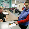 Rockport: Rebecca Sly casts her ballot at Rockport Elementary School during yesterday's election. Photo by Kate Glass/Gloucester Daily Times Tuesday, May 5, 2009