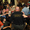 Gloucester: Gloucester police officer Scott (The General) Dufney is greeted by fans after he defeated at the Fuller School Saturday night. Desi Smith Photo/Gloucester Times. May 31,2009