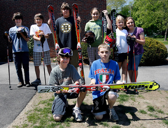 Essex: Essex Elementary students who will be at the new Middle School next year will hopefully be able to join a newly-formed ski team. Shown are: (back row l-r) Cole O'Brien, Cole Spencer, Brian Fraga, Alexandra Marshall, Louisa Spofford, Alyssa Fraser, (front row l-r) Ben Alger and Parker Edington. Photo by Kate Glass/Gloucester Daily Times Tuesday, May 12, 2009