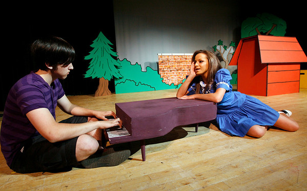 "Rockport: Dan Carter as Schroeder and Daria Whittaker as Lucy rehearse a scene from Rockport High School's production of ""You're A Good Man, Charlie Brown,"" which is showing Friday, May 15, at 7:30, Saturday, May 16, at 2:30 and 7:30 and Sunday, May 17, at 12:30. Tickets are $10, $7 for students and seniors. Photo by Kate Glass/Gloucester Daily Times Wednesday, May 12, 2009"