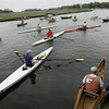 Essex: Rowers wait for the begining of their heat in the Essex River Race Saturday morning. The race is 5.5 mile open water race that was open to all  human powered boats which included kayaks, row boats, dory and seine boats. Mary Muckenhoupt/Gloucester Daily Times