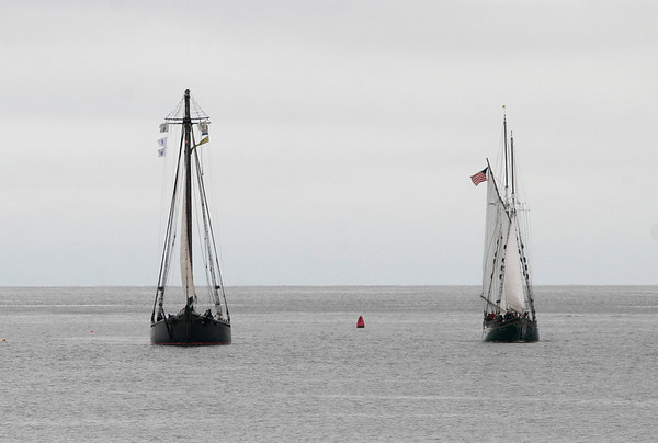 Gloucester: The Schooner Thomas E. Lannon, right, welcomes the Schooner Ernestina as it stops in Gloucester Harbor as part of its four-day journey home to New Bedford following restoration work at Boothbay Harbor Shipyard in Maine. Photo by Kate Glass/Gloucester Daily Times Wednesday, May 6, 2009