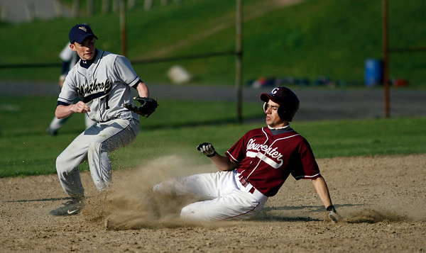 Gloucester: Gloucester's Taylor Burbine slides into second base, but was called out as Winthrop's Joe Boudrow made the tag yesterday afternoon. Photo by Kate Glass/Gloucester Daily Times Monday, May 11, 2009