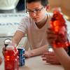 Manchester: Caleb Churchill, a seventh grade student at O'Maley, looks at the nutrition label on a can of Red Bull during the nutrition portion of the Manchester Athletic Club's Enrichment Program. Photo by Kate Glass/Gloucester Daily Times