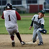 Rockport: Rockport's Jay Fulmer steals second base as Manchester Essex's Matt Corwin reaches for a wide throw at Evan's Field last night. Photo by Kate Glass/Gloucester Daily Times Tuesday, May 19, 2009