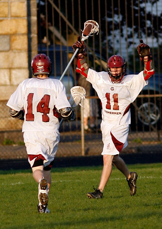 Gloucester: Gloucester's William Thomsen celebrates his goal against Manchester Essex as teammate Edan Lewis runs to congratulate him at Newell Stadium yesterday. Photo by Kate Glass/Gloucester Daily Times Monday, May 11, 2009