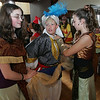 "Gloucester: Kelly O'Dea, left, and Samamtha Oliver, playing the Genie, help fix Kyle McGilvray, playing Aladdin, ready for the next scene as O'Maley Middle School performs ""Aladdin"" at City Hall as part of the Gloucester Public Schools' Arts Festival Saturday. Mary Muckenhoupt/Gloucester Daily Times"