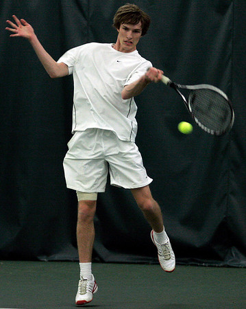 Manchester: Manchester Essex's Leo Daley returns a serve during their match against Newburyport yesterday afternoon. Photo by Kate Glass/Gloucester Daily Times Thursday, May 7, 2009