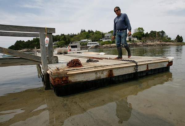 Essex: Ted Marshall, a member of the Conomo Point Association, anchors the docks as they get ready for the upcoming holiday weekend. Marshall said he had to send over 500 pounds of rotten chain to be scrapped, which has made the process take a bit longer. Photo by Kate Glass/Gloucester Daily Times Wednesday, May 20, 2009