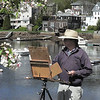 Manchester: George Martin of Beverly Farms works on a landscape painting of Manchester Harbor on Monday morning. Photo by Robert Cann/Gloucester Daily Times Monday, May 10, 2009