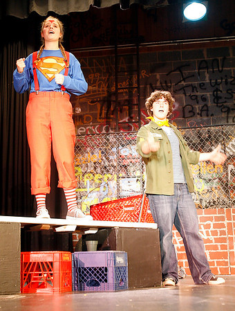 """Manchester: Piper Browne, left, and Connor Hoff rehearse a scene from Manchester Essex High School's production of """"Godspell."""" The show will run Thursday, May 14, Friday, May 15, and Saturday, May 16, all at 7 pm at the Manchester Memorial School auditorium. Adult tickets are $10 and student and senior citizen tickets are $8. Photo by Kate Glass/Gloucester Daily Times Wednesday, May 12, 2009"""