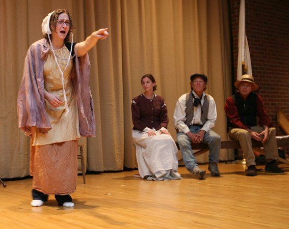 """Gloucester: Nora Messier, Talia Brown, Gordon Baird, and Jay DiPrima rehearse a scene from """"The Beauport Anthologies,"""" a dramatization of coloful Gloucester historical personalities, which will be performed at the Universalist Church on Middle Street on June 4 at 8 p.m. Photo by Kate Glass/Gloucester Daily Times"""